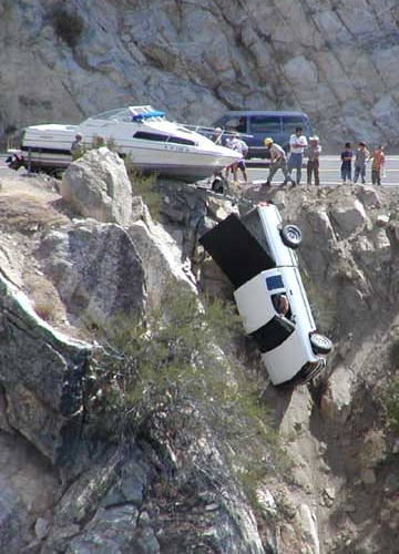 Car Going Off Cliff