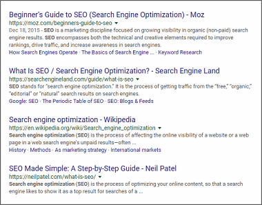 Search Engine Results For SEO