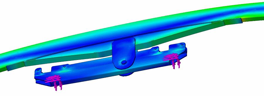 Distributed Loading Result Of Suspension Engineering Walking Beam Analysis
