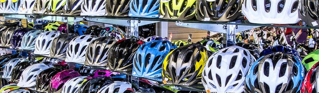 Bicycle Safety Helmets On Display