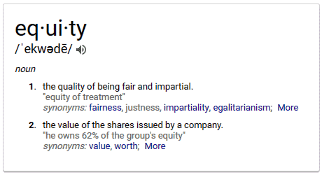 Definitions of Equity from Google