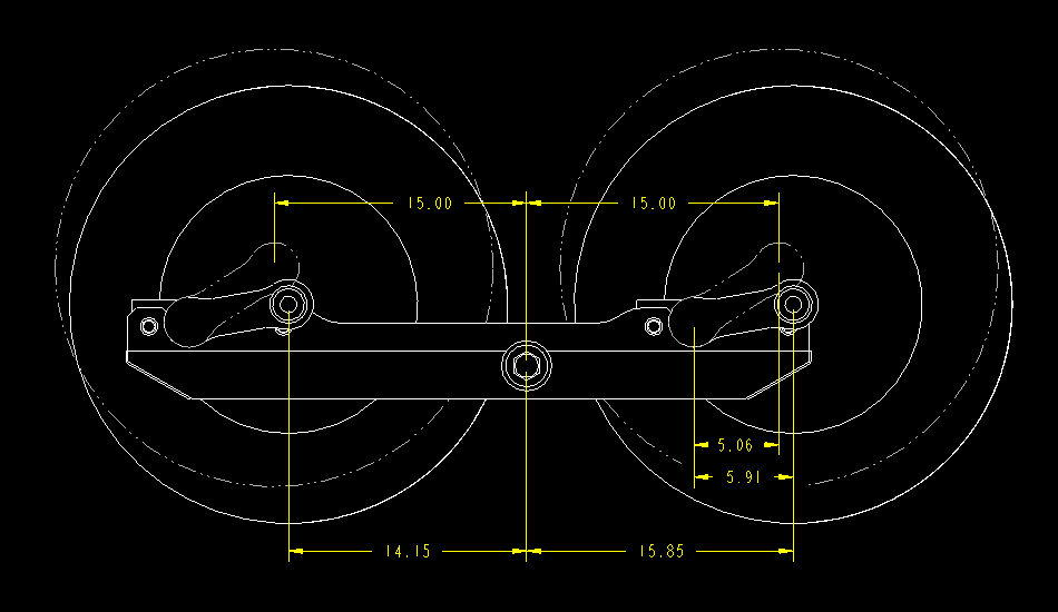 Dimensions to Beam Pivot as the Walking Beam Suspension is Loaded