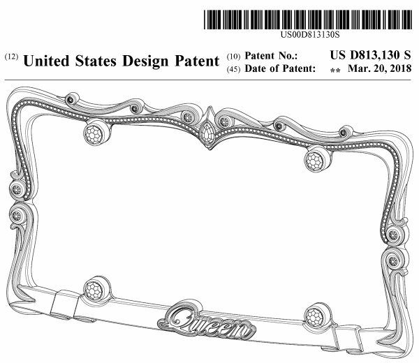 Design Patent for the Queen Frame